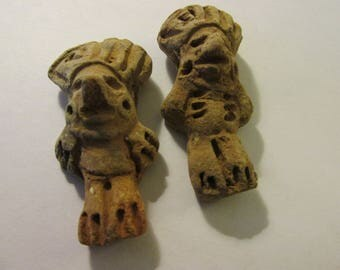 """Handcrafted Rustic Clay Beads of Inca-Aztec-Mayan-Mexican Tribal Wariors, 2"""", Set of 2"""