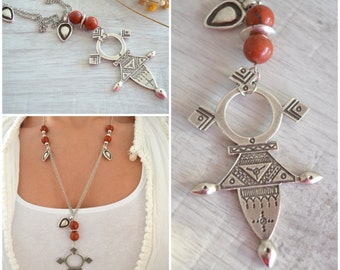 African Ethiopian Tuareg Coptic Cross Necklace, Long Moroccan Pendant Necklace, African Moroccan Jewelry, Tribal Amulet Beaded Necklace