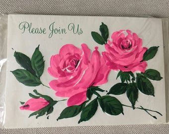 "Vintage Hallmark Invitation Cards -Unused- Still in Original Package Set of 8 ""Please Join Us"" Bright Pink Roses"