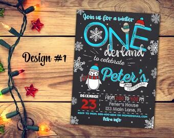 Winter ONEderland invitation - ONEderland penguin invitation - Penguin birthday invitation - ONEderland birthday invitation