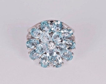 14K White Gold Aquamarine with Diamond Center Ring, size 7