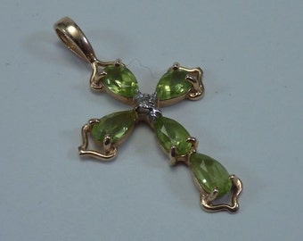 14K Yellow Gold Cross Pendant with Peridot, 1.2 grams