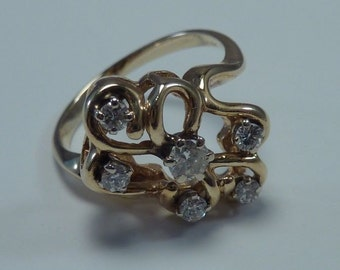 14K Yellow Gold Diamond Cluster Ring 1/3 ct. tw. size 6