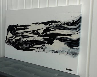 Black and white abstract painting and epoxy, title: aerodynamics