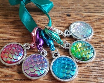 5 crochet  stitch markers. Mermaid scales
