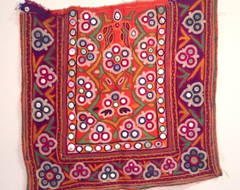 Vintage Indian embroidery square with mirrors wall hanging pillow dress purse textile India embroidered