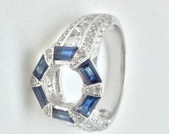 elegant diamond ring with blue sapphire
