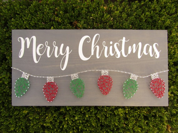Merry Christmas Lights String Art Made-to-Order