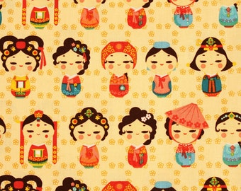 Girls in Korean Traditional Costume, Hanbok printed Fabric made in Korea by the Half Yard