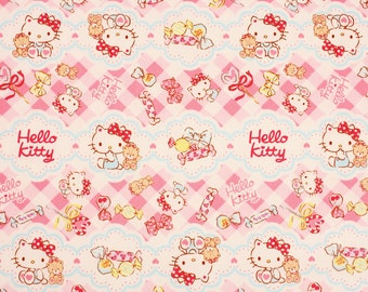 "Hello Kitty Sanrio Character Oxford Fabric made in Japan FQ 45cm by 53cm or 18"" by 21"""