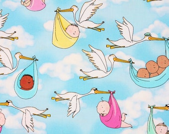 Love Birds Stork and Baby Kanvas with Benartex Cotton Fabric by the Half Yard