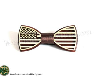 Wood bow tie America wooden USA United States of America flag