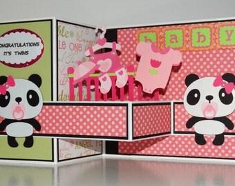 Baby shower twins handmade 3D pop up greeting card