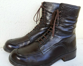 Mens Lace Up Boots High Brown Lace up Boots for men mens lace up boots leather Chocolate Brown Orthopedic Vintage Size EU 40 US 7 1/2