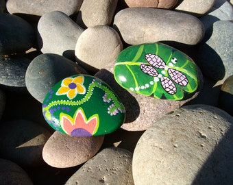Spring green duo . River rocks painting