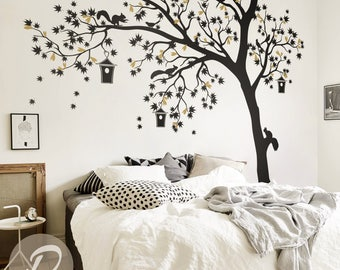 Large tree wall sticker / Tree birds wall sticker / Tree  wall art tattoo /  Large wall sticker for nursery Wall decal for nursery  -AM002
