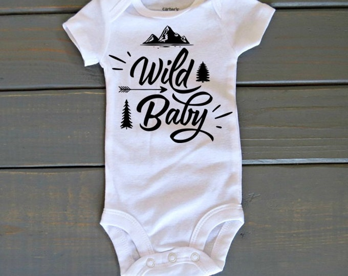 Wild Baby Bodysuit, Adventure Shirt, Baby Shower Gift, Cute Baby Clothes