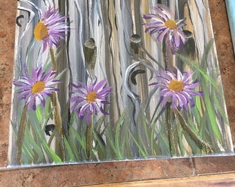 Enjoy this beautiful original painting of an old fence and purple flowers.