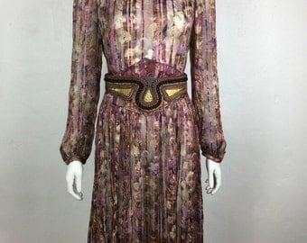 Vtg 70s sheer silk gauze gold lurex floral maxi peasant boho hippie dress medium