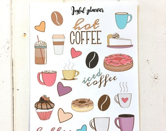 coffee planner stickers mini deco sheet for all planners