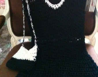 Crochet dress and sleevless  long vest and  purse By Alexander Size 8/10