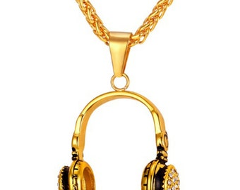 Headphones Necklace 18K Gold Plated Music DJ Pendant - Elegant Gift Box