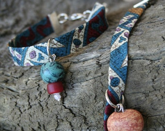 SILK  Bracelet Fabric Ceramic Charm Bracelet, Blue Taupe and Burgundy Upcycled men s necktie
