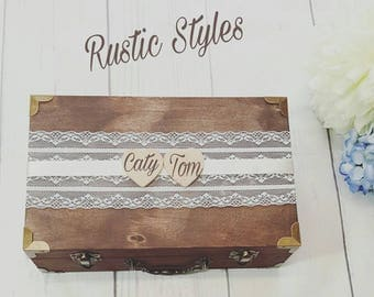 personalized rustic card box with wood banner wedding reception card box personalized card holder