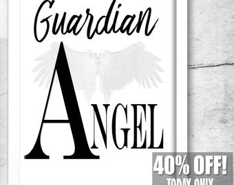 Guardian Angel Print, Guardian Angel, Guardian Angel Gifts, Guardians Wall Art, Angel Print, Angel Art, Black and White, Black White Print