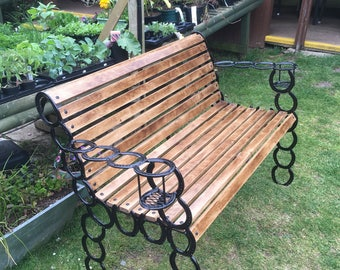 Horse shoe wooden bench with glass holders, oak wood available