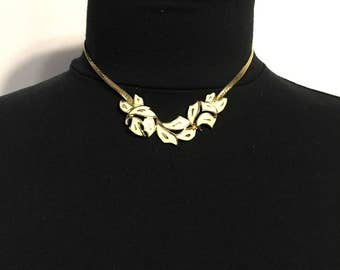 Gold Tone Necklace - White Enamel - Leaf Design