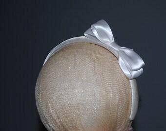 Communion Headband White Satin Bow