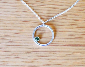 Sterling silver green tourmaline pendant, circle jewelry, karma necklace, delicate necklace, minimalist necklace, eternity necklace,