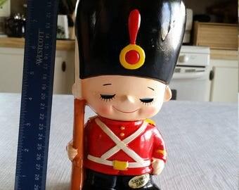 """vintage 9"""" japan painted chalkware toy soldier savings bank - british royal guard w/ rifle gun & bayonet - retro kids savings piggy antique"""