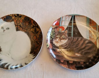2 vintage white fur and tabby tiger kitten collector plates - made in japan - art cats porcelain wall hanging