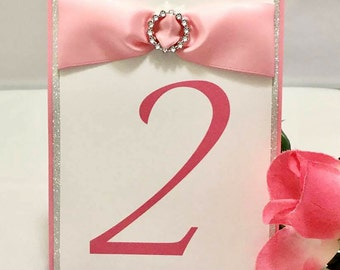 Silver Glittery Pink & White Table Numbers With Ribbons and Buckles (Choose Your Quantity)