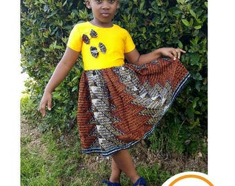 Children's African Print Dress with Hairband / African Print Girls Dress / Toddler Dress/  Ankara Girls Dress/