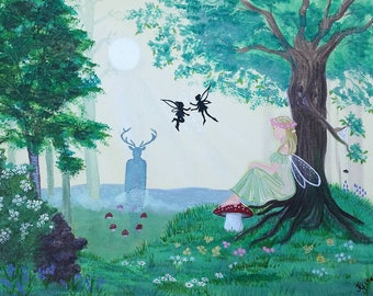 Beltane at Dusk. Modern fairy painting in acrylics on canvas board