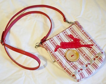 Scandi Bunny / Rabbit Shoulder Handbag Bag in linen and cotton with PVC handles and felt details, red and white