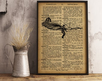 Steampunk Flying Man Vintage Steampunk Man in Flying Machine Dictionary style art print Steampunk Flying Machine Antique Graphics Ai17