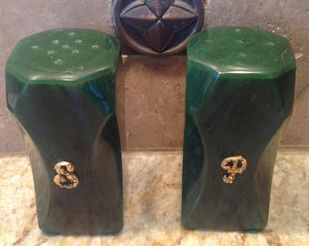 Green Stone Salt and Pepper Shakers