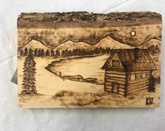 Cabin Scene Woodburning