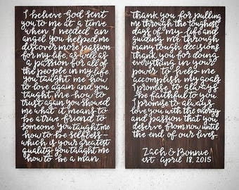 Custom Wood Sign - Personalized Handlettered 22x36 Wedding Vow Sign - Wedding Song Lyrics Plank - Customizable Wooden Anniversary Sign Decor