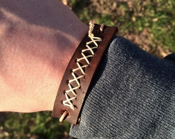 Cross Stitch Leather Bracelet