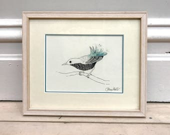 SALE! Framed original illustration - Bird