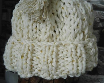 Gorgeous cream and gold winter hat