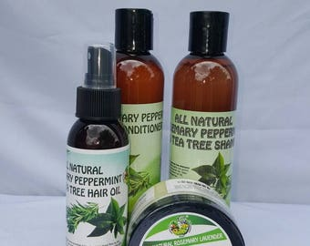 All Natural Rosemary Peppermint Tea Tree Hair oil, Shampoo, Conditioner, and Rosemary Lavender and Tea Tree Damaged Hair Repair
