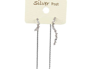Unbalanced Swirl and Chain Sparkly Dangling Earrings