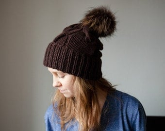 Knit Chunky Brown Hat