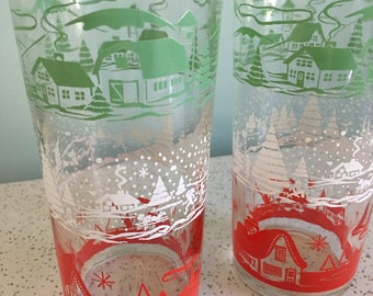 Vintage Holiday/Winter Glass Tumbler - Set of 2